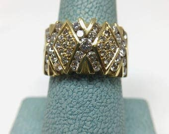 Retro 18K YG 1.50TCW Diamond Geometric Statement Ring Sz 6 NOS Estate VS2 G-H