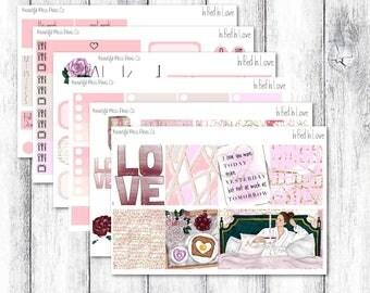 In Bed In Love // Erin Condren Horizontal // Weekly Sticker Kit // Valentine's Day Sticker Kit