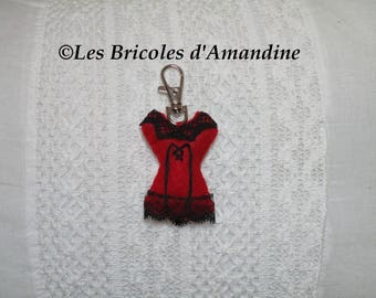 "Bag charm, keychain ""corset"" with felt and lace, cabaret style"