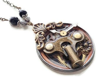 """Steampunk """"parts of the grandfather 1"""" pendant necklace"""