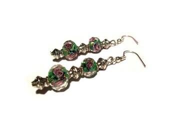Retro chic earrings, green Lampwork beads