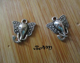 set of 2 silver plated elephant charms
