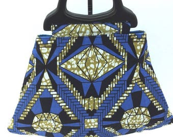 Black and blue African fabric bag
