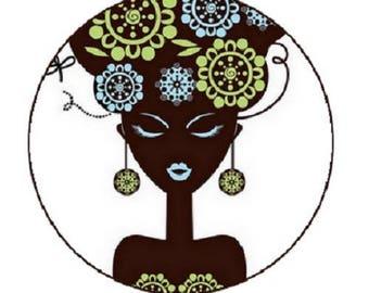 23mm, cabochon black woman bust