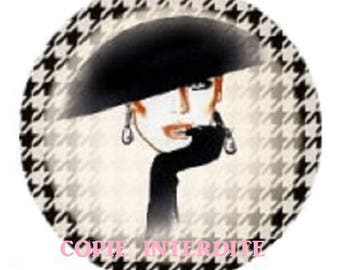cabochon 20mm, high fashion, hat and gloves