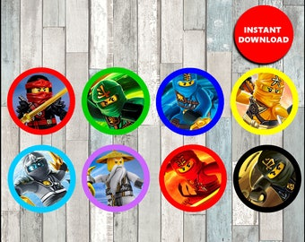 80% OFF Ninjago Toppers instant download, Printable lego ninjago party cupcakes Topper, ninjago cupcakes toppers