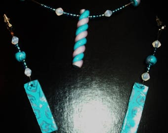 F Parure necklace and earrings turquoise and pink transparent polymer clay