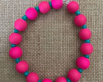 Hot pink and teal beaded bracelet