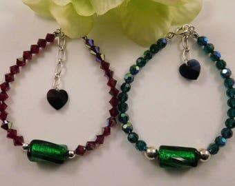 Red n Green Swarovski Crystal and Venetian Murano Glass Beaded Bracelet in Sterling Silver