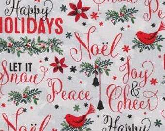 Christmas fabric hohoho fabric santa fabric holiday cheer cotton by the yard fabric by the yard christmas cotton fabric christmas prints
