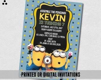 Minions Invitation, Minions Invite, Despicable Me Invite, Minions Birthday Party, Birthday Invitation, Physical Invite, Digital, 3DS-015