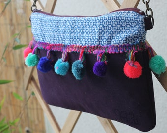 Bollywood bag tassels / leather fabric and purple geometric
