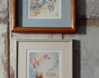 Jody Bergsma Duo of Watercolor Art 1980s