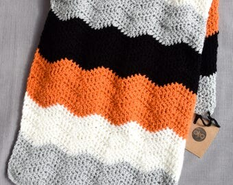 Contemporary baby/toddler blanket - monochrome and orange