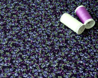Patchwork fabric purple and blue flowers