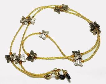 Golden Topaz Crystal Butterfly Beaded Eyeglass Chain