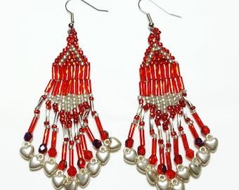 Ruby Red Beaded Dangle Beaded Earrings