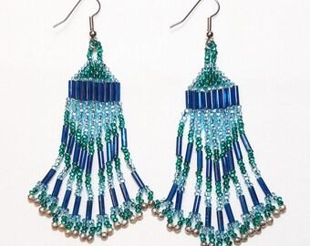 Sea to Sky Blue Beaded Dangle Earrings