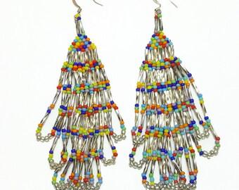 Sterling Silver Multi Color Beaded Dangle Earrings