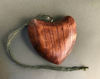 Solid Oak Wooden Heart Ornament