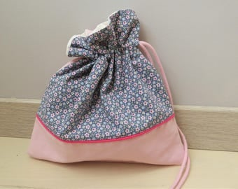 Bag blanket or Pajamas for girl, pouch bag storage, fully lined, cotton, made in France