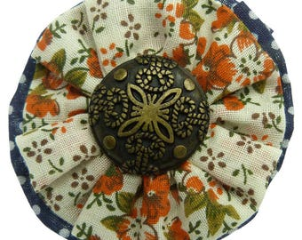 Clip type crocodile shape round retro orange flowers on beige background back cotton