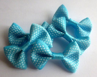 5 bows in turquoise blue white 40mm pea grosgrain 16