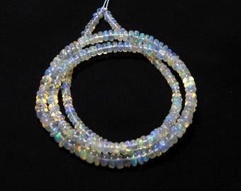 "Natural Ethiopian welo opal smooth beads 2.5-4 M.M. 16"" strand/necklace, welo opal roundel beads necklace, fire opal beads strand :-AJ7"