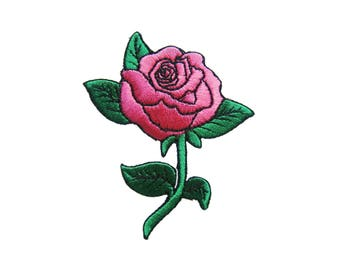 Pink Rose Iron On Patch Tattoo Embroidered Applique Biker Patches For Jackets