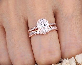 Rose Gold Oval CZ Halo Ring Set / Curved Design Half Eternity Side Band /  Wedding