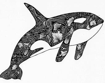 Orca Print, Zentangle, Orca Drawing, Art Prints, Black and White Prints, Wall Art, Orca Whale, Ink Art, Prints, Black and White Wall Art