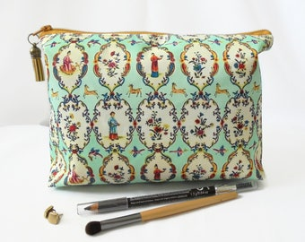 Gifts for her, Wash bag, chinese, mint green, travel bag, cosmetic bag, zip bag, make up bag.