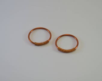 Pair of copper glazed brass rings-pair of copper earrings