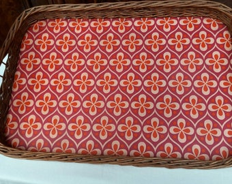 60 years very preserved old serving tray wicker tray basket ware vintage wave