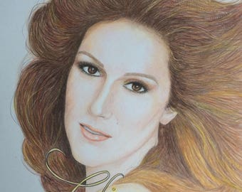 Colored Pencil drawing of Celine Dion