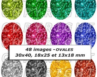 48 digital images for cabochon theme glitter multicolor glitter silver and Gold - Oval