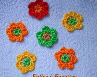 colorful blend of cotton crochet flowers