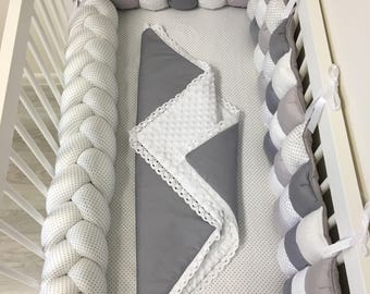 Mixed Colours Braided Crib Bumper Nursery Bedding Kids Room