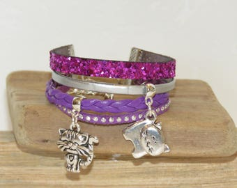 """""""Cats"""" girl Cuff Bracelet leather leather, suede - violet and silver glitter"""
