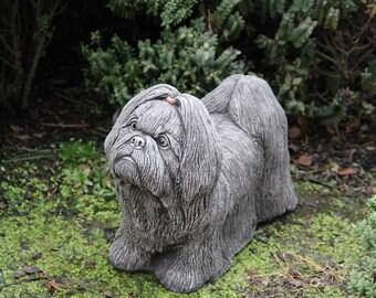Shih Tzu Large Dog Statue Stone Garden Ornament Decor Gift