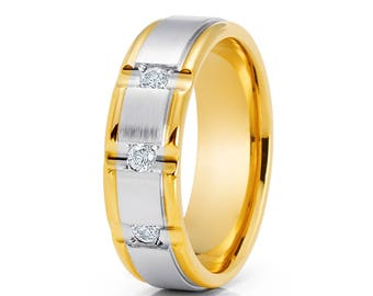 White Diamond Wedding Band Yellow Gold Wedding Ring Diamond Wedding Band 14k Gold Men's Ring