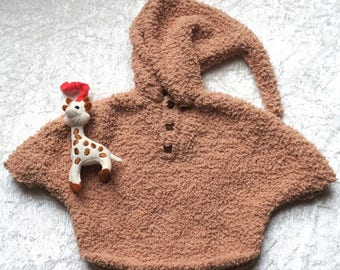 1 year: glossy brown Pixie hooded poncho sweater, knitted wool plush