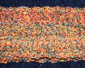 Crochet Scarf ~ Rust, Orange, Green (Approx. 4 x 56 inches) ~ SHIPPING PAID