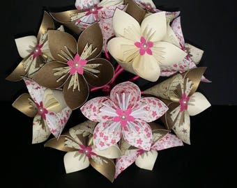 Example set Bouquets and flowers for wedding - ivory, gold and pink flowers