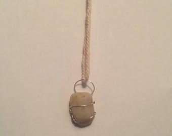 wire wrapped pebble necklace
