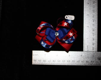 Red & Blue with Stars Hair Bow
