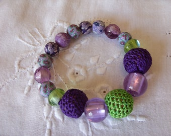Elastic Purple & Green Bracelet