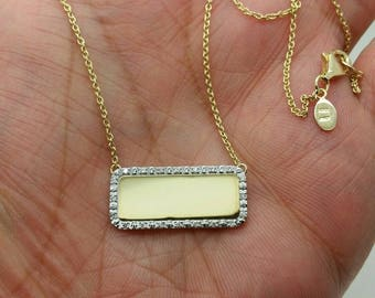 14k Solid Yellow Gold Diamond Engravable Bar Name Plate Pendant Chain Italy