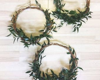 FRESH Ruscus Hoops, Greenery Hoops, Wedding hoops, Vine hoops, Flower Rings, Floral Hoops, Photo Props, Hoop Wreath, Nursery decor, wreaths