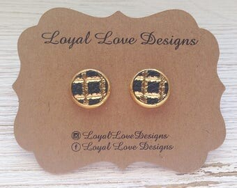 Black and Gold Leather Stud Earrings, Stud Earrings, Genuine Leather, Statement Earrings, Boho